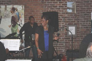 Cheryl with A to D Jazz combo at the BeanRunner Jazz Cafe, New York, USA